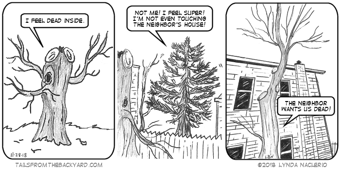 """A pruned old tree with several hollows says, """"I feel dead inside."""" A full pine tree says, """"Not me! I feel super! I'm not even touching the neighbor's house!"""" A thin, severely pruned tree declares, """"The neighbor wants us all dead!"""" In the background, the neighbor's house looms menacingly."""