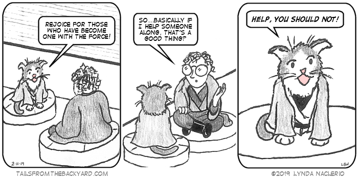 """In a spoof of Revenge Of The Sith. I'm dressed like Anakin Skywalker, sitting opposite a grey and white cat I call The Ancient One as Yoda. """"Rejoice for those who have become one with The Force!"""" he tells me. """"So...basically if I help someone along, that's a good thing?"""" """"HELP, YOU SHOULD NOT,"""" warns The Ancient One."""