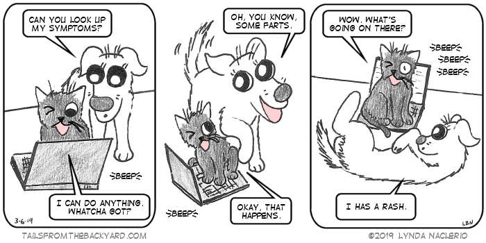 "The Puppy asks The Slinky One if he can look up her symptoms. ""I can do anything,"" he says. ""Whatcha got?"" ""Oh, you know, some farts,"" The Puppy says, looking adorable. ""Okay, that happens,"" The Slinky One says, leaning away from The Puppy. In the third panel, The Puppy is lying on her side with her leg in the air, facing The Slinky One. His one open eye looks surprised. ""Wow, what's going on there?"" he asks as the computer he sits on beeps. ""I has a rash,"" The Puppy says."