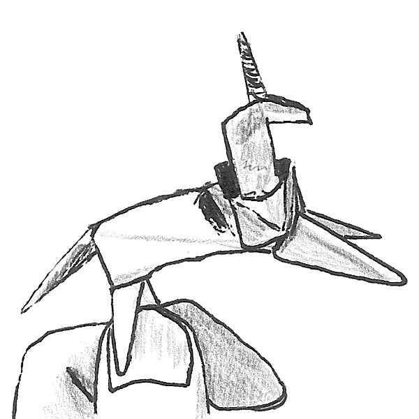 A drawing of an origami unicorn.
