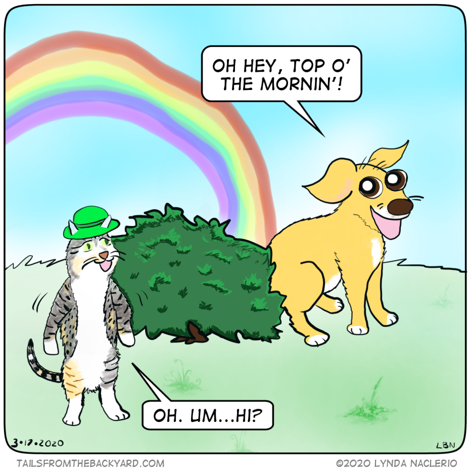 "Babycat is wearing a green derby and walking upright. She encounters The Puppy pooping in a hedge at the end of a rainbow. ""Oh hey, top o' the mornin'!"" The Puppy says. ""Oh. Um...Hi?"" Babycat replies."