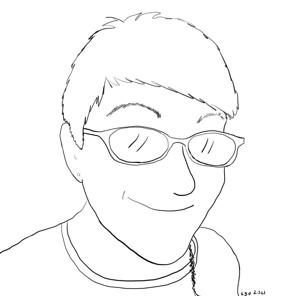An outlined drawing of my own head.